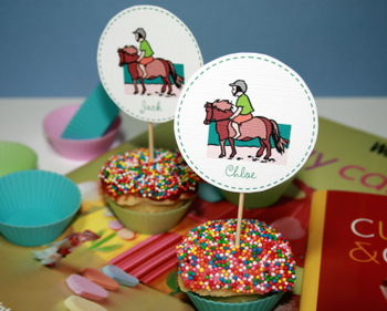 Pony themed cupcake charms