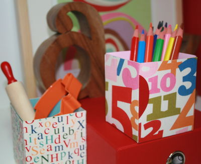 Fabric covered boxes for children