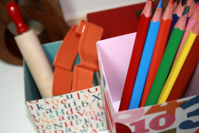 Fabric covered boxes for children detail