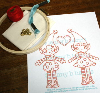 Allsorts Elves embroidery pattern