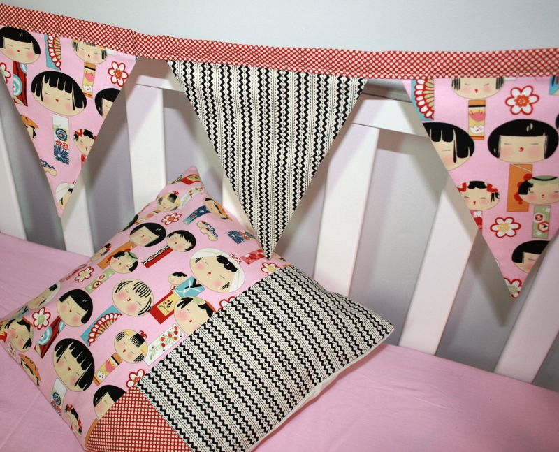 Kokeshi Doll Cushion & Bunting Set