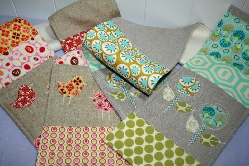 Linen Patchwork Applique Scarves