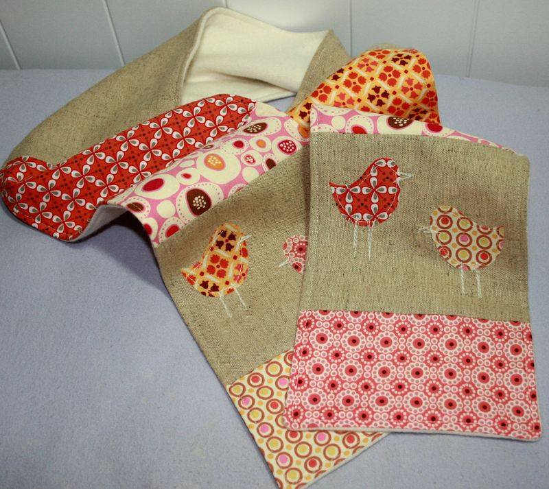 Linen and Patchwork Birdy Scarf