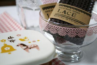 Scallop glasses and lace trim