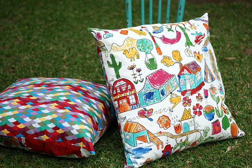 Fabric paint cushions 1